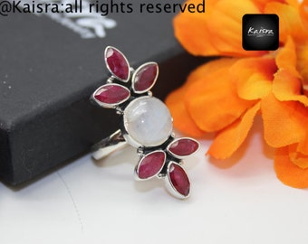 Moonstone, Ruby Ring, Sterling Silver Ring , Gemstone Ring