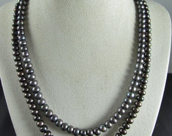 "Black Pearl Necklace 16"" or 18"""