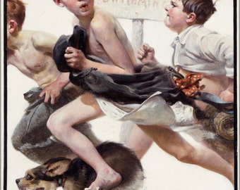 24x36 Poster . No Swimming By Norman Rockwell 1921
