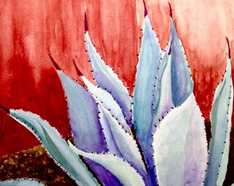 """Tequila Anyone? Blue agave plant next to a rustic wall  original watercolor, 11x14"""" inches"""