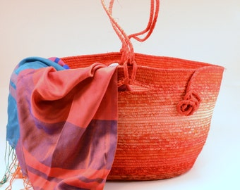 Coiled rope fabric knitting basket by Batik Baskets