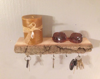 Key Holder, Rustic, Key Hanger, Key Organizer, Shelf, Live Edge, Reclaimed, Floating Shelf, Entry, Key Rack