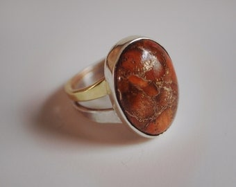 Orange Turquoise Silver and Brass Ring