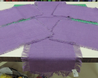Purple Burlap Table Runner and Placemat Set