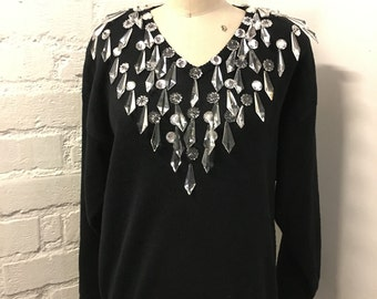 50% OFF 80s vintage Crystal deco knit sweater : chandelier