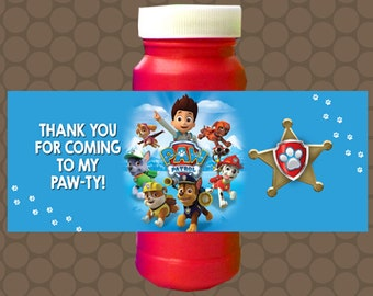 Paw Patrol Boys Birthday Bubble Labels Wrappers Stickers Printable Uprint Digital DIY Instant Download