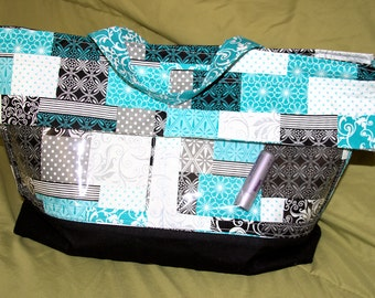 Turquoise and Black Quit Pattern Display Tote/Purse