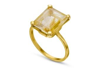 Unique engagement ring, rutilated quartz gold ring, custom made rutile quartz ring, 14k gold emerald cut ring, alternative engagement ring