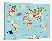 World Map Art - Animal World Map for Kids Room - Nursery World Map Print - Canvas World Map for Kids and Baby Room - Kids Room Wall Decor