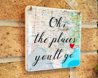 Custom Map Art Hanging Map Sign Ceramic Tile World Map Oh The Places You'll Go Personalized Map Graduation Gift Gift For Men Gift For Women