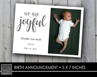 CUSTOM PHOTO CARD...birth announcement...5x7...Joyful...white