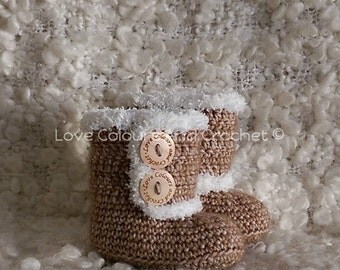 Super Cute  UGG like Fur Trimmed Baby Booties Crochet