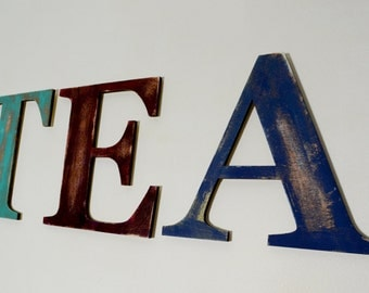 TEA Letter Sign –  Wooden Sign – EAT Sign – Faux Metal Style Wooden Letters– Kitchen Décor – Home Décor – Make Tea Not War
