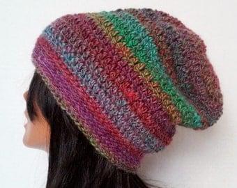Crochet Hat, Slouchy Beanie, Slouchy Hat,Striped Hat, Striped Beanie,Winter Hat, Slouch Hat,Skater Beanie