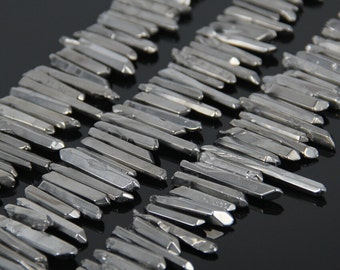 Full Strand Polished Natural Silver Quartz Crystal Stick Beads Points Bulk,Top Drilled Raw Crystals Gems Spikes Pendants Necklace Jewelry