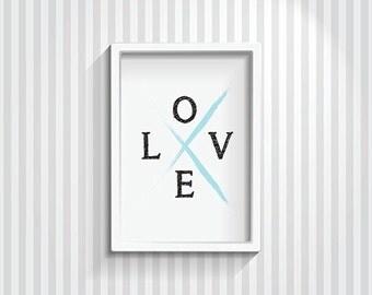 Love print, love wall art, love art prints, nursery print, nursery decor, love typography print, wall print, black and blue, digital print