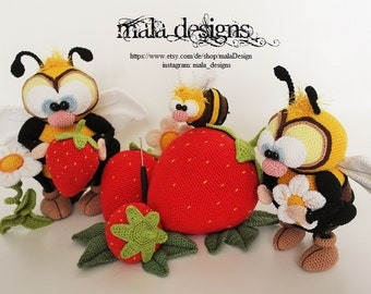 bees and strawberries, extended version, crochet pattern by mala designs