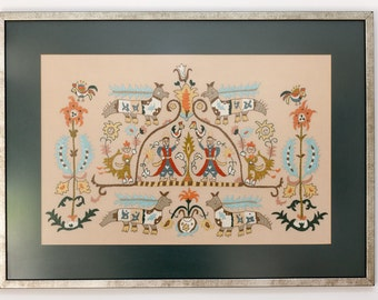 Embroidery in Frame,  Skyros Sporades Island Greek Embroidery, Handmade Embroidery, 17th 18th Century, Mythical Creatures, Human Figures