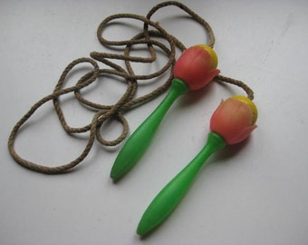 Vintage French  jump rope in the shape of tulips.