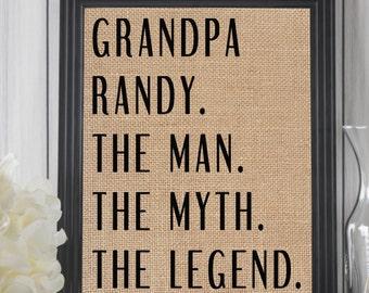 The Man The Myth The Legend // Grandpa Gift // Personalized Grandpa Gift // Fathers Day Grandpa // Birthday Gift Grandpa // Grandfather