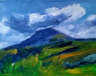 "Original Acrylic Painting, ""Volcano #1,"" 12"" x 16"", Arenal Volcano, Costa Rica"