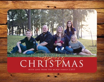 Christmas Photo Card - Red and Gold Glitter
