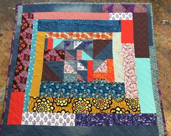 Gee's Bend Inspired Blue Jean Throw Size Quilt