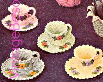 INSTANT DOWNlOAD - PdF Pattern - 1950s Tea Cups and Saucers Crochet Vintage Pattern flowers crochet leaf crochet pattern fun crochet