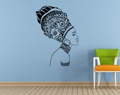 Woman Afro Girl African Tribe Ancient Tribal Pattern Jewelry Wall Room Vinyl Mural Art Decor Decal Sticker L1674