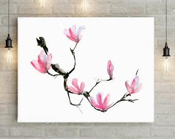 Magnolia Art - flower watercolor painting - Print - Poster - Zen - magnolia wall decor - minimalistic art - pink black art flower print