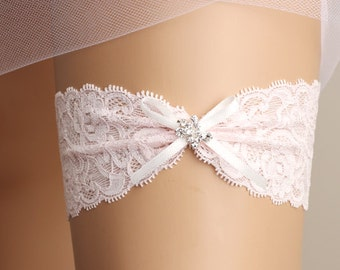 wedding garter, bridal garter, lace garter, pink garter, crystal garter, toss garter, bridal accessories, ribbon garter