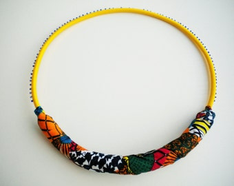 African jewelry, yellow rope necklace,textile jewelry, unique necklaces for woman, ethnic jewelry, tribal jewelry, gift for her