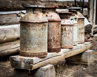 Antique Milk Cans - Fine Art Photography Print, rusted cans, vintage, old milkcans, metal cans, nostalgia, milk cans, wood bench