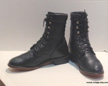 sz 6 m vintage black  leather DURANGO lace up granny combat boots