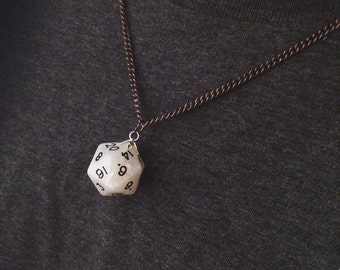 D20 dice pendant necklace