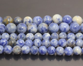 Blue Spot Beads, Natural and Smooth Round Beads,4mm 6mm 8mm 10mm 12mm,15 inch per strand