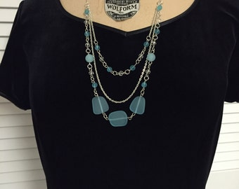 Triple Strand Blue Assorted Sea Glass Silver Chain Necklace