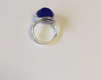 Deep Blue Sea Glass Silver Wire Wrapped Ring