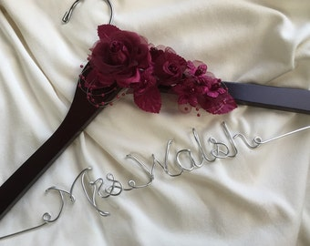 Personalized wedding hanger, Burgundy Rose Bride hanger, wedding dress hanger