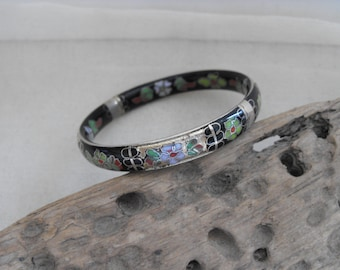 vintage cloisonné enamel bangle, lovely condition black , green and gold