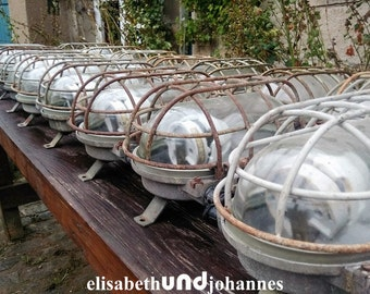 set of 16 vintage factorylamps industrial lights lamps bunkerlamp bulkhead design XL (35 cm) loft steampunk retro mid century co-working pub