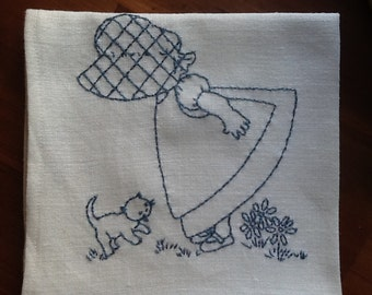 Hand Embroidered Linen Dish Towel