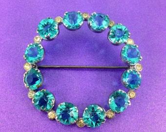 Stunning Vintage Turquoise Glass Brooch, Rhinestone Brooch, Vintage Wedding, Bridal