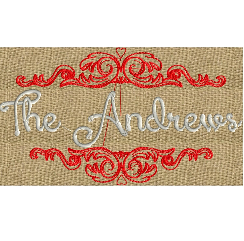 Enchanted font frame monogram embroidery design not