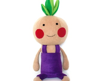 "Stuffed plush smiling toy vegetable Onion with violet pants, named ""Chipollino"". Onion softie boy, doll, baby safe toy"