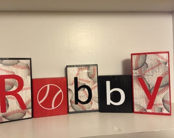Baseball Name Blocks, red, white, and black