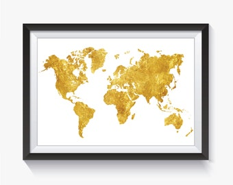 Gold Map, Gold World Map, Gold Map Print, World Map, Map Print, Map, World Map Print, Large World, Travel Map, Map Poster, Map Printable