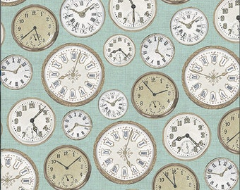 Andover - Vintage - Makower UK - TP-1442-B - Antique - Clocks - Blue