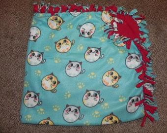 "Hand Made No Sew Fleece Cats Blanket 60"" x 61"""