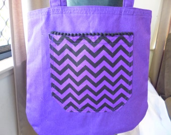 Shoulder bag - lined - Purple with Purple and Black Chevron Pocket with mini Black PomPoms